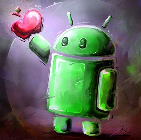 Android Man Eating Apple